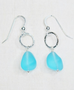 Eco Sea Glass with Hammered Ring Earrings - Turquoise