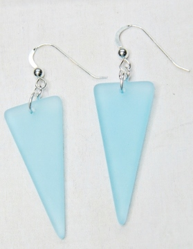 Eco Sea Glass Sheild Earrings - Turquoise