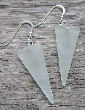 Eco Sea Glass Sheild Earrings - Sea Foam