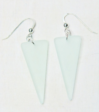 Eco Sea Glass Shield Earrings - Sea Foam