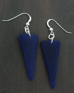 Eco Sea Glass Sheild Earrings - Cobalt Blue