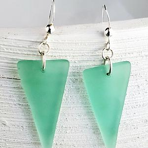 Eco Sea Glass Shield Earrings - Autumn Green