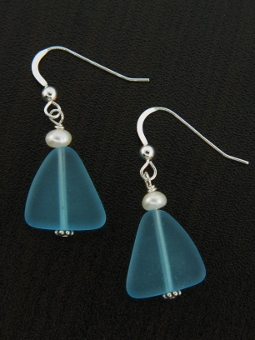 Eco Sea Glass with Pearl Earrings - Turquoise