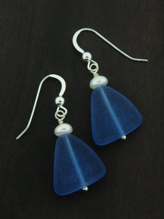 Eco Sea Glass with Pearl Earrings - Cobalt Blue