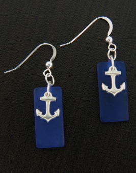 Eco Sea Glass Rec Curved Anchor Earrings - Cobalt Blue