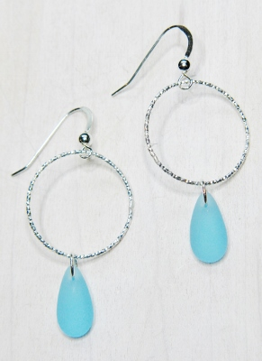 Eco Sea Glass Diamond Cut Earrings - Turquoise