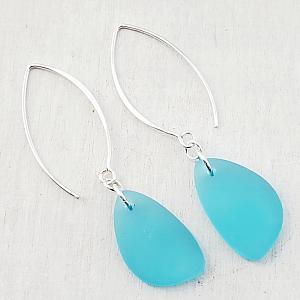 Eco Sea Glass Marquis Pebble Earrings - Turquoise