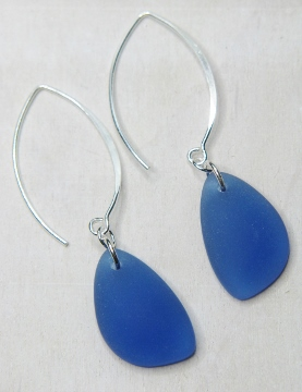 Eco Sea Glass Marquis Pebble Earrings - Cobalt Blue