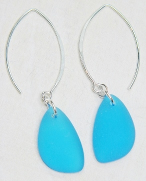 Eco Sea Glass Marquis Pebble Earrings - Pacfic Blue