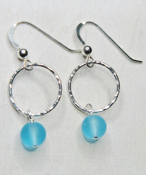 Eco Sea Glass Hammered Earrings - Turquoise