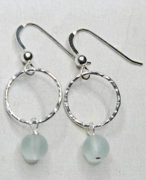 Eco Sea Glass Hammered Earrings - Sea Foam