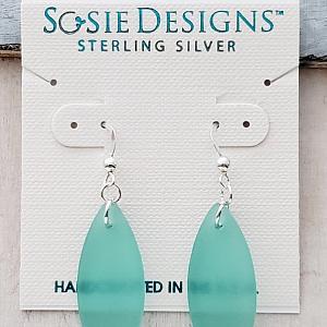Silver Marquis Eco Sea Glass Earrings - Autumn Green