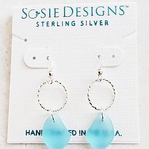 Silver Diamond Cut Eco Sea Glass Pebble Earrings - Turquoise