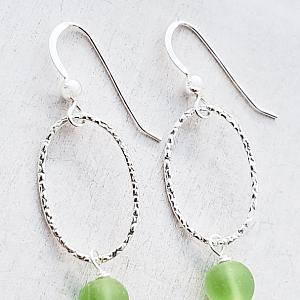Silver Oval Diamond Cut Teardrop Earrings - Peridot