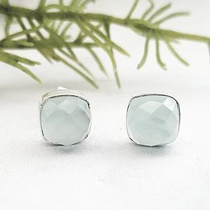 Silver Cushion Aqua Chalcedony Studs Earrings