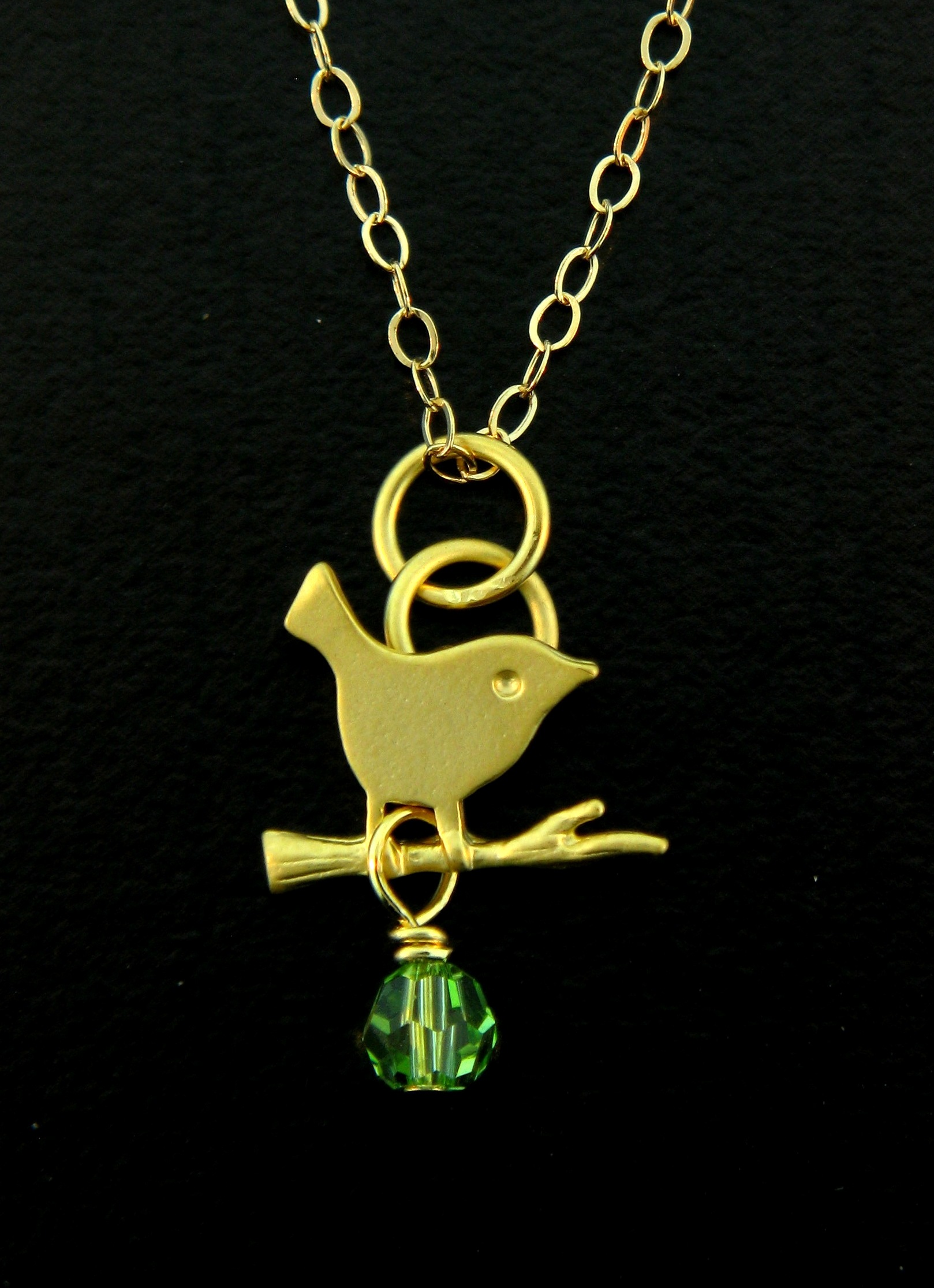 Gold Peridot Crystal Little Birdie Necklace