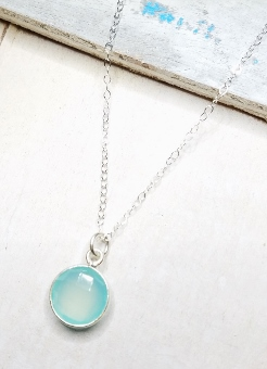 Silver Aqua Chalcedony Necklace