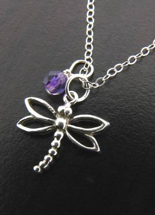 Dragonfly Necklace w/ Amethyst