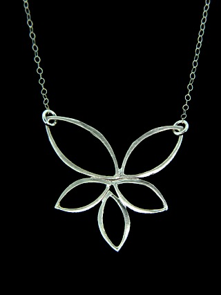 Large Silver Lotus Flower Necklace