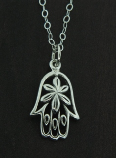 Silver Hamsa Flower Necklace