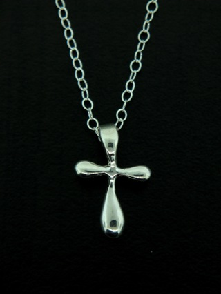 Puffy Silver Cross Necklace