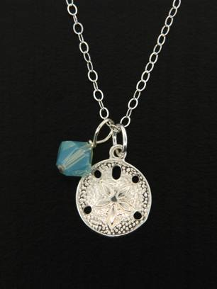 Sand Dollar Necklace w/ Crystal