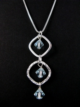 Silver Diamond Hammered Azure Necklace