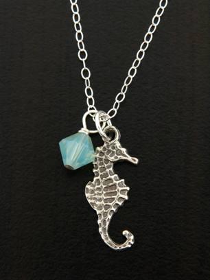 Seahorse Necklace w/ Crystal