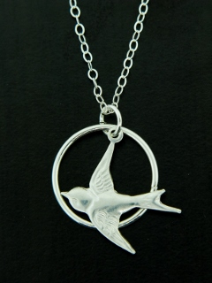Silver Swallow Song Bird Necklace