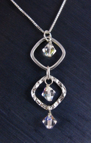 Silver Diamond Hammered Clear AB Necklace