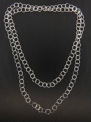 Long Hammered Circle Necklace