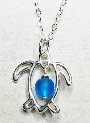 Honu Sea Turtle Sea Glass Necklace