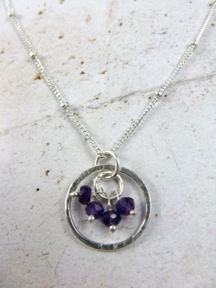 Gemstone Cluster Necklace in Amethyst