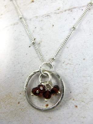 Gemstone Cluster Necklace with Garnet