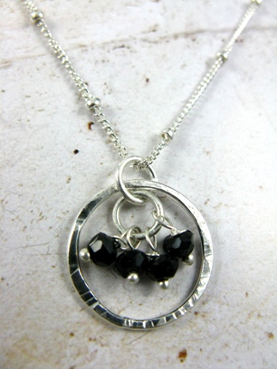 Gemstone Cluster Necklace in Black Spinel