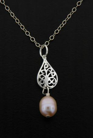 Pearl Pink Pear Silver Necklace