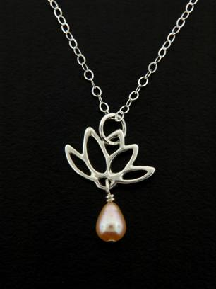 Pink Pearl Lotus Blooms Necklace