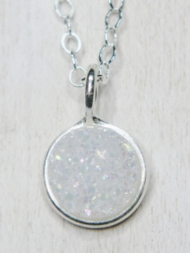 Tiny Silver Bezel Druzy Necklace - 8 mm Rainbow White