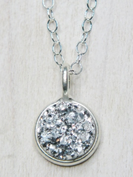Tiny Silver Bezel Druzy Pendant Necklace - 8 mm Silver