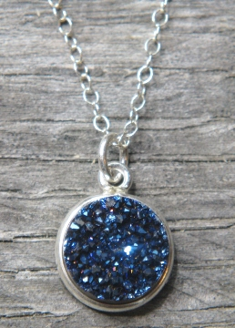 Silver Bezel Druzy Necklace - Blue