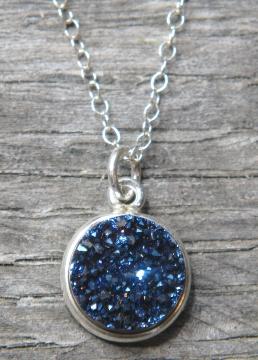 Silver Bezel Druzy Necklace - Blue