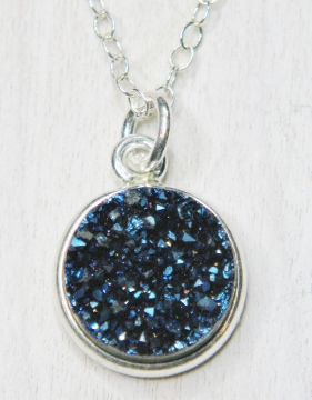 Tiny Silver Bezel Druzy Necklace - Blue