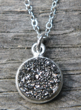 Silver Bezel Druzy Necklace - Grey