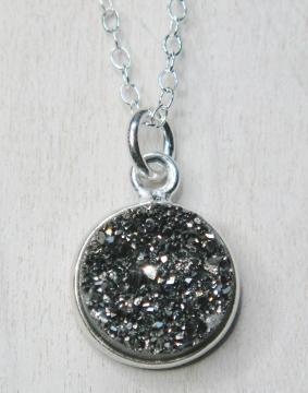 Silver Bezel Druzy Necklace - Grey