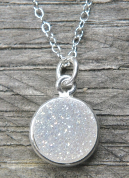 Silver Bezel Druzy Necklace - Rainbow White