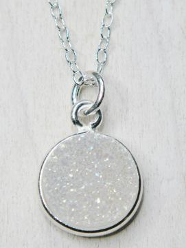 Silver Bezel Druzy Necklace - Rainbow White