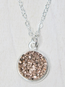 Silver Druzy Bezel Necklace - Rose Gold/Copper