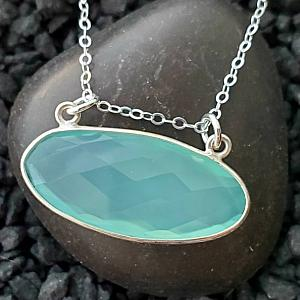Floating Aqua Chalcedony Silver Necklace