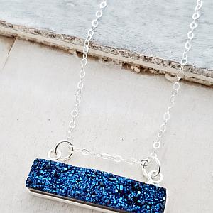 Silver Druzy Bar Sideways - Blue