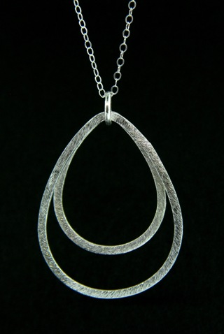 Brushed Silver Double Teardrop Necklace
